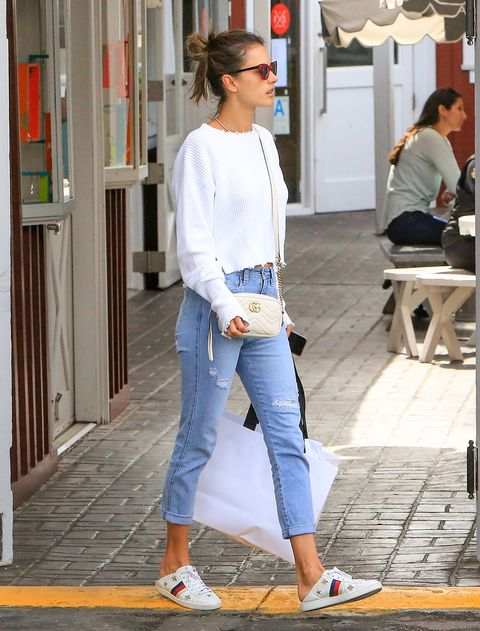 Clothing, Jeans, White, Denim, Street fashion, Shoulder, Fashion, Footwear, Snapshot, Eyewear,