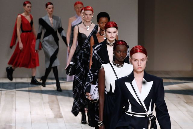 models present creations by alexander mcqueen during the womens fall winter 2020 2021 ready to wear collection fashion show in paris, on march 2, 2020 photo by francois guillot  afp photo by francois guillotafp via getty images