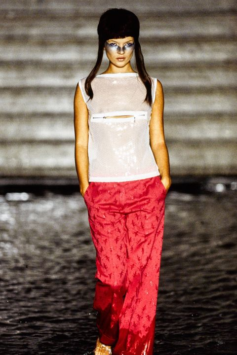 Fashion model, Clothing, Fashion, White, Runway, Fashion show, Red, Pink, Fashion design, Human,