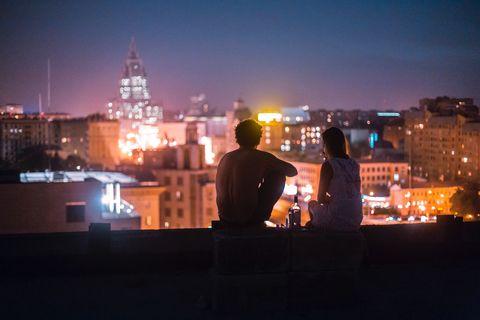 Sky, Night, Light, Urban area, City, Lighting, Roof, Town, Human settlement, Evening,