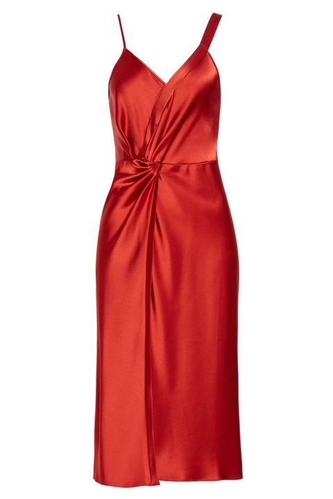 Clothing, Dress, Day dress, Red, Cocktail dress, Satin, Orange, Formal wear, Textile, Gown,
