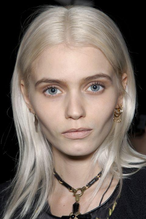 Hair, Face, Eyebrow, Blond, Hairstyle, Chin, Lip, Cheek, Beauty, Nose,