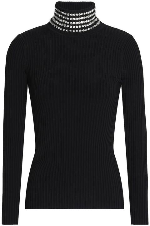 Clothing, Long-sleeved t-shirt, Black, Sleeve, Neck, Wool, Sweater, Collar, Outerwear, Jersey,