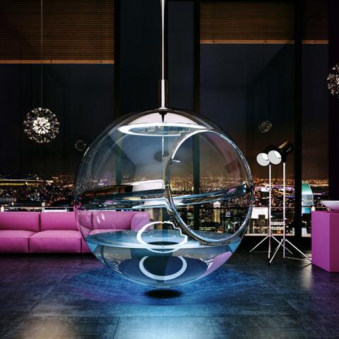 Interior design, Lighting, Purple, Sky, Architecture, Room, Night, Design, Restaurant, Material property,