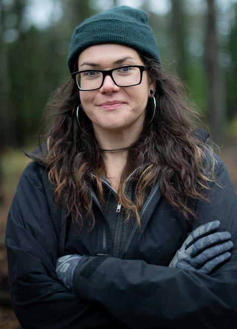 Alexandera Houchin pose pour un portrait avec son vélo au Cloquet Forestry Center de Cloquet, MN, le 22 octobre 2019.