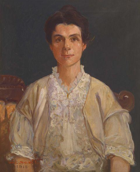 adella logan, oil portrait by william edouard scott