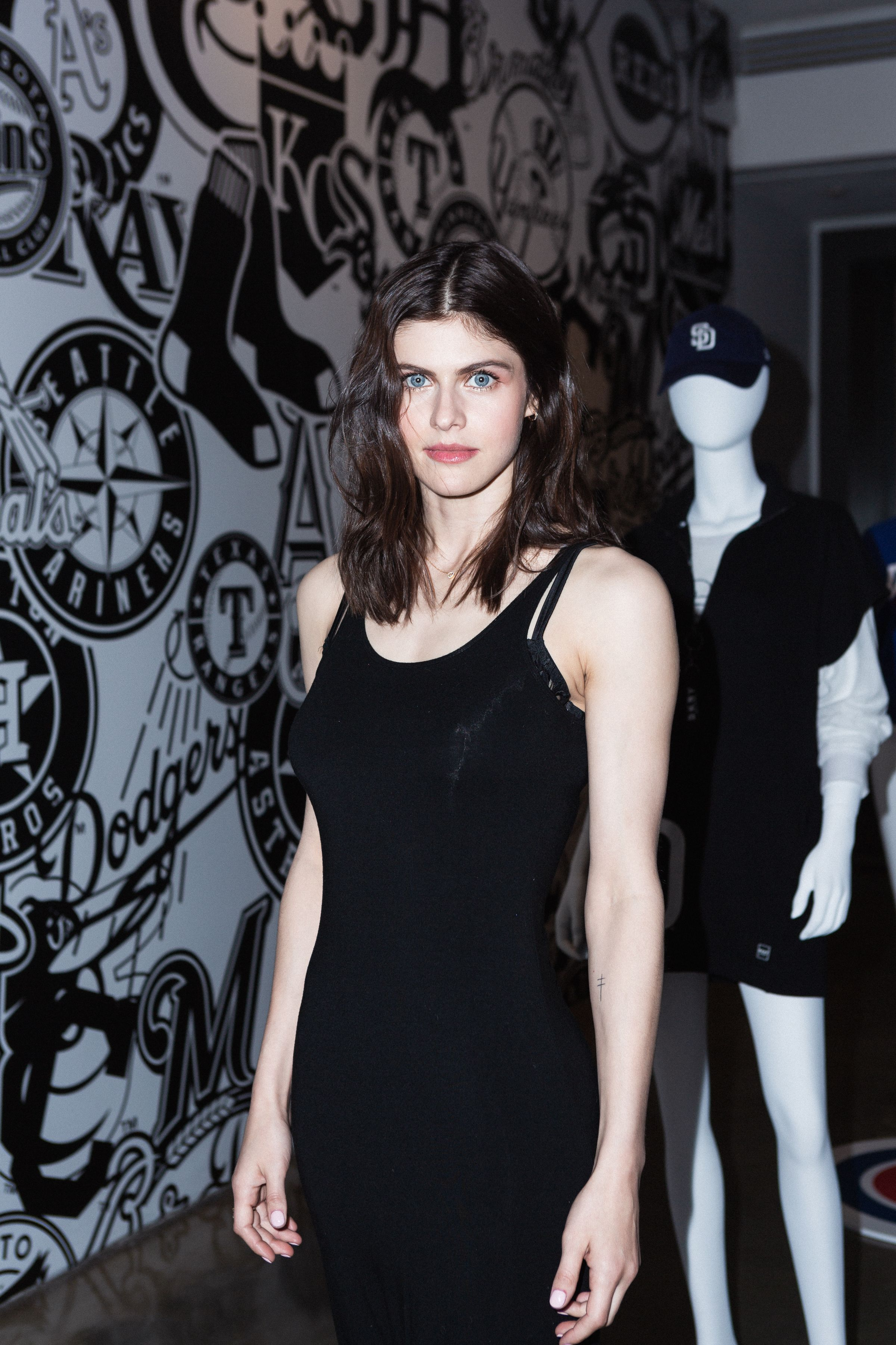 Alexandra Daddario Alexandra Daddario celebrates the launch of the DKNY x MLB capsule collection at Milk Gallery in NYC.