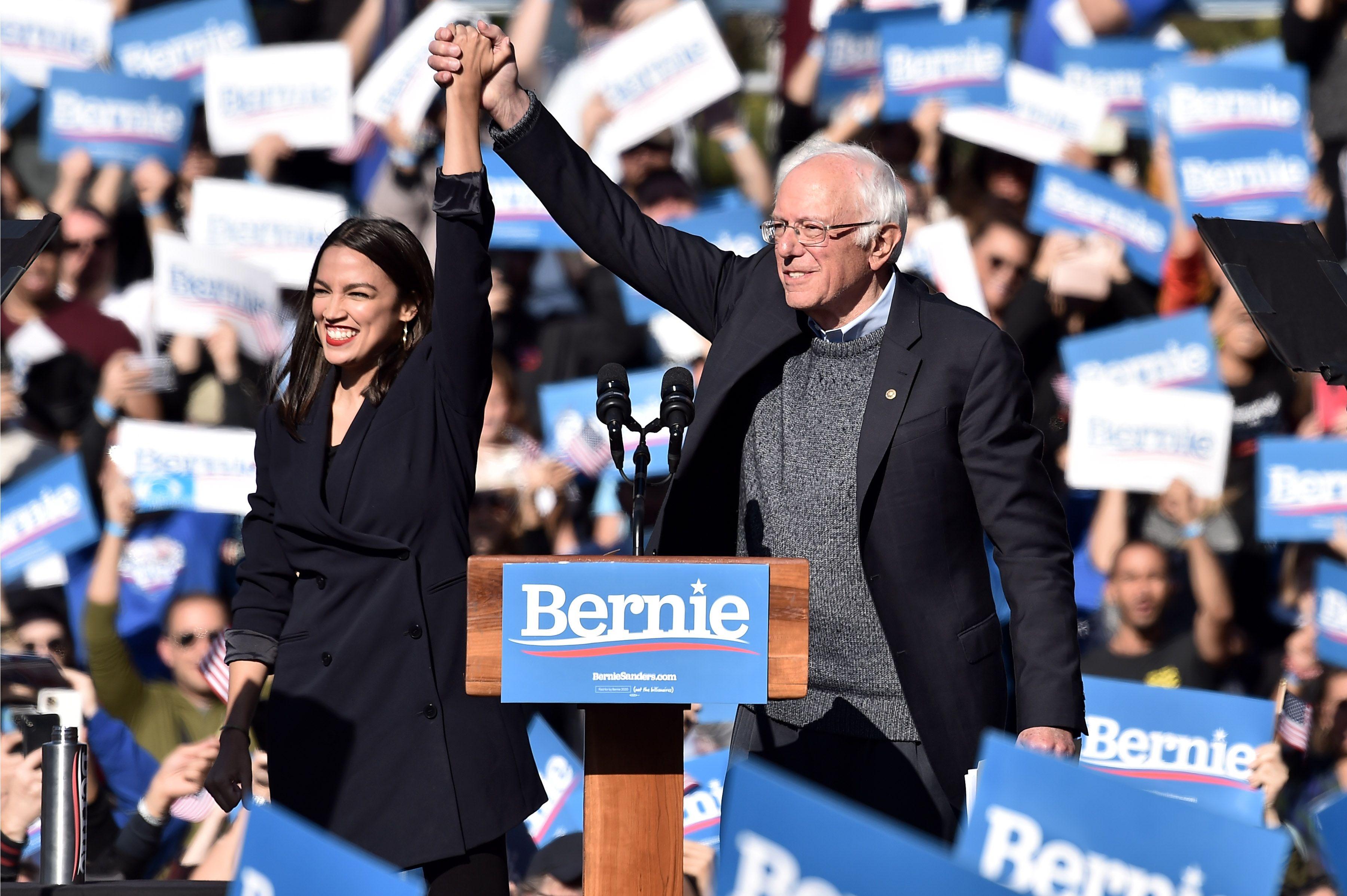 Alexandria Ocasio-Cortez Endorses Bernie Sanders at Rally