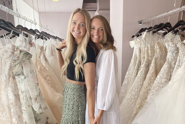 alex and paige drummond shop for wedding dresses in dallas, texas with their mom, ree drummond