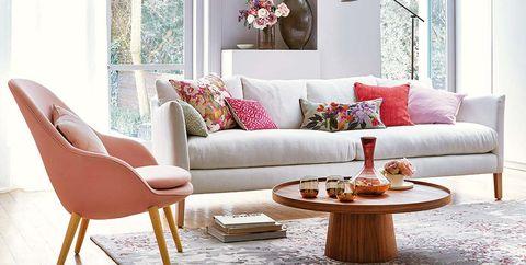 salón gris y rosa