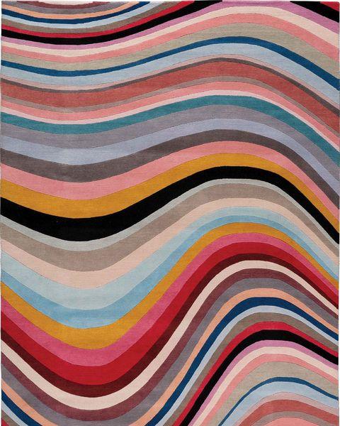 Alfombra de curvas sinuosas de colores