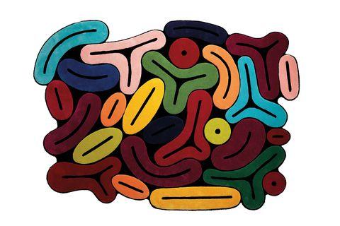 alfombra de vivos colores y formas gruesas