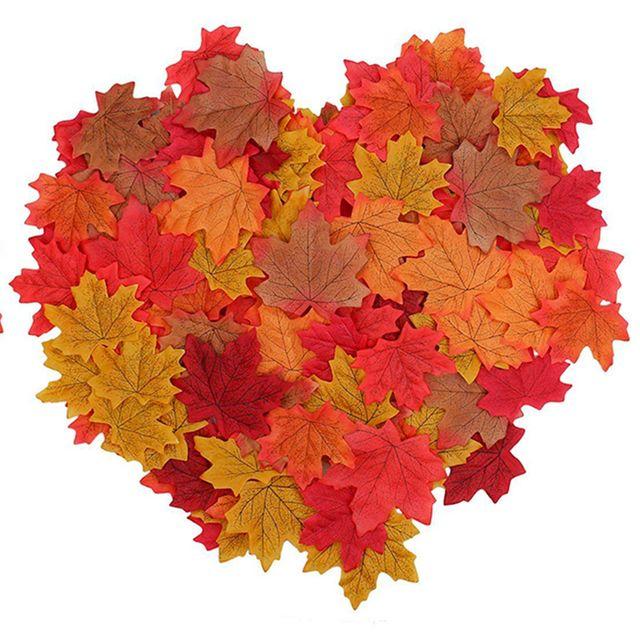 hojas artificiales decoración de otoño