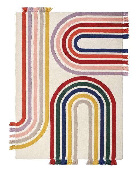 alfombra rainbow, de lana mechada