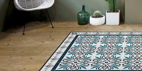 Floor, Tile, Flooring, Turquoise, Mat, Room, Pattern, Ceramic, Rectangle, Interior design,