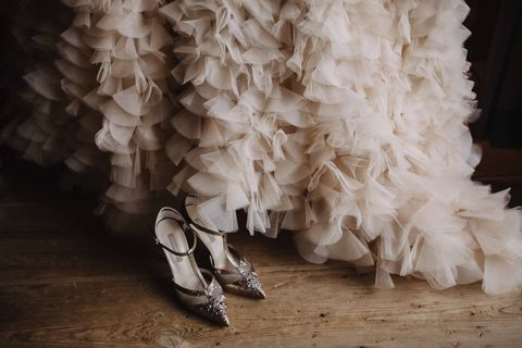 White, Footwear, Dress, Shoe, Textile, Feather,