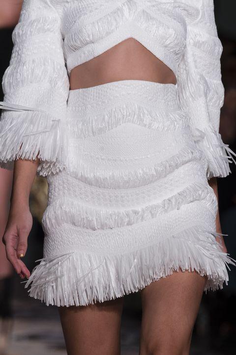 White, Clothing, Fashion, Shoulder, Dress, Ruffle, Leg, Joint, Cocktail dress, Haute couture,