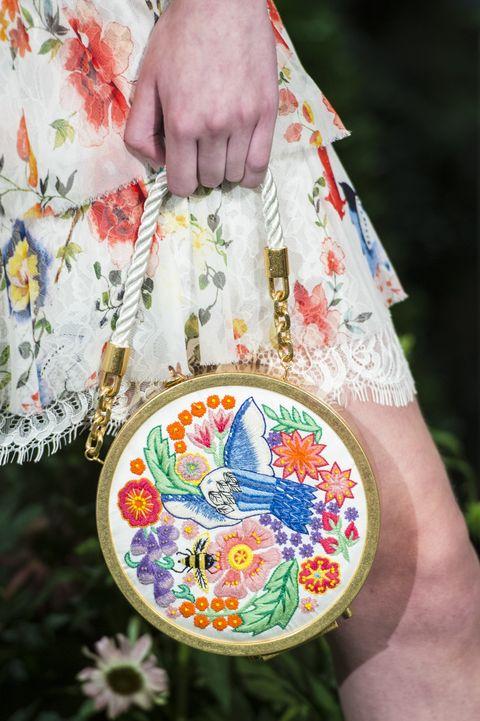 Hand, Embroidery, Textile, Needlework, Pattern, Pattern, Handbag, Bag, Wildflower, Tote bag,