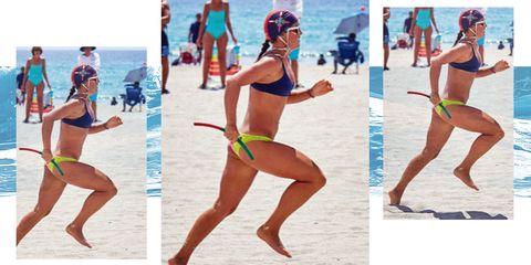 Bikini, Clothing, Volleyball, Swimwear, Beach volleyball, Leg, Undergarment, Net sports, Thigh, Fun,