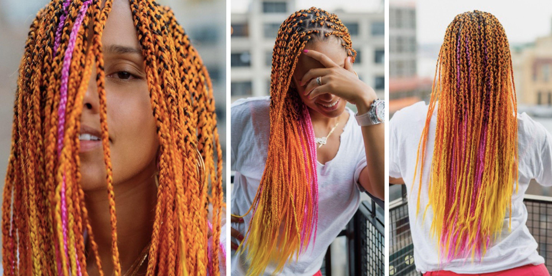 Alicia Keys showcases pink and orange braids