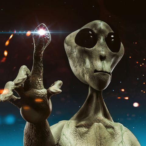 Alien from outer space stands before sky filled with stars trying to communicate