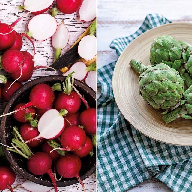 alimentos de marzo rábanos, alcachofas y patatas
