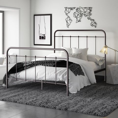 Bed, Furniture, Bedroom, Iron, Bed frame, Room, Black-and-white, Metal, Bed sheet, Bedding,