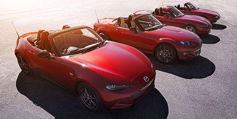 all four generations of Mazda's MX-5 Miata