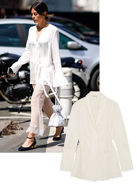 White, Street fashion, Clothing, Fashion, Outerwear, Suit, Dress, Beige, Neck, Formal wear,
