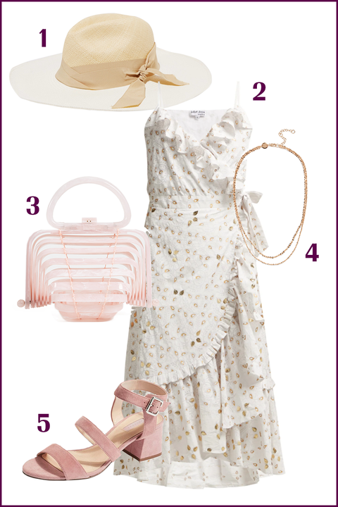 Clothing, Pink, Hat, Dress, Headgear, Sun hat, Beige,