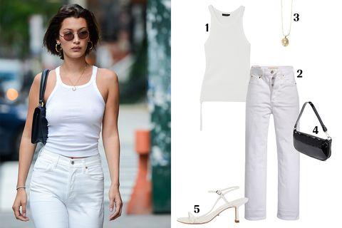 White, Clothing, Shoulder, Jeans, Fashion, Waist, Dress, Street fashion, Neck, Denim,