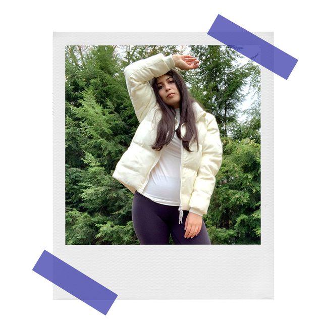 zarah wearing allbirds trino puffer jacket