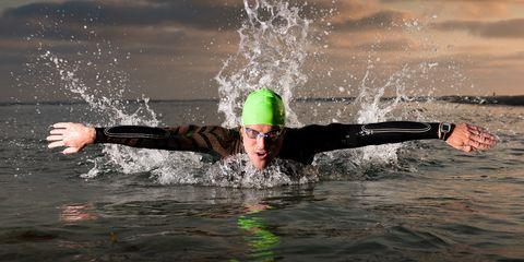 Swim cap, Open water swimming, Recreation, Swimming, Sports, Swimmer, Endurance sports, Cap, Individual sports, Triathlon,