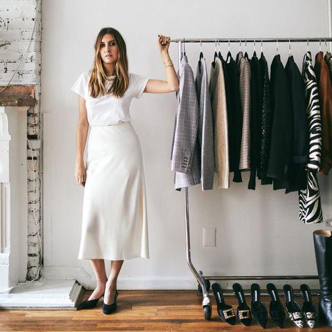 White, Clothing, Closet, Room, Dress, Shelf, Fashion, Furniture, Formal wear, Footwear,