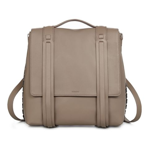 allsaints tan leather backpack