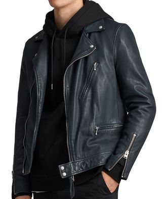 Allsaints Slim Fit Leather Jacket