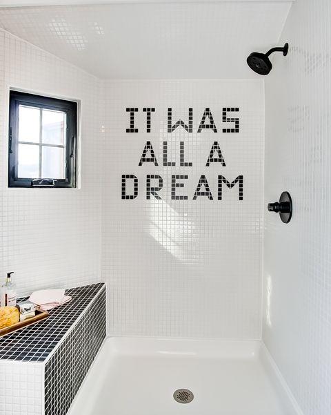 Bathroom, Room, Wall, Tile, Interior design, Shower, Font, Plumbing fixture, Ceiling, Architecture,