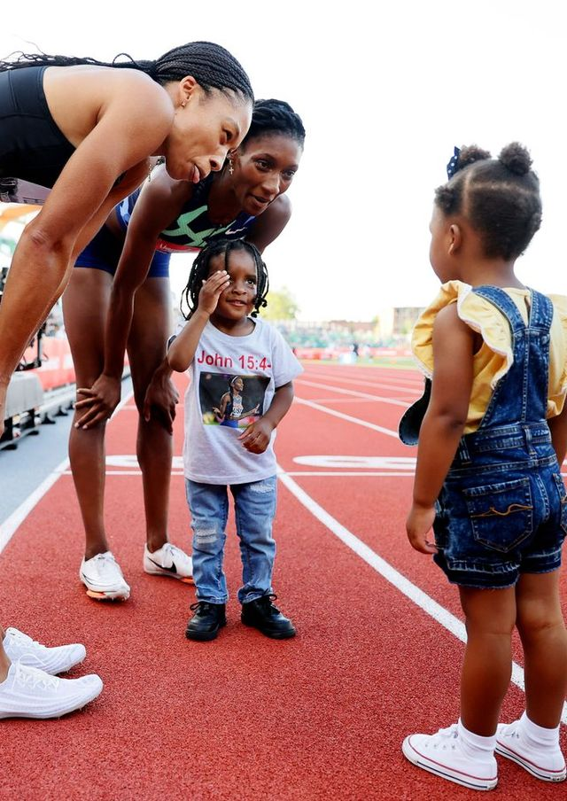allyson felix at the 2020 2021 olympic track and field trials in eugene, oregon