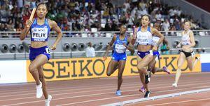Allyson Felix, 4x400m, Doha 2019, Mundiales de atletismo