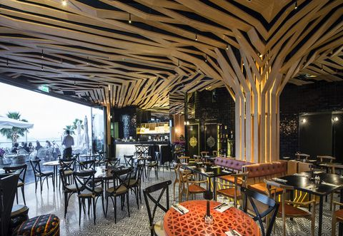 Furniture, Table, Ceiling, Restaurant, Interior design, Hall, Function hall, Cafeteria, Decoration, Kitchen & dining room table,