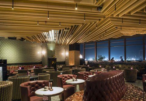 Interior design, Ceiling, Furniture, Table, Hall, Restaurant, Function hall, Beam, Interior design, Light fixture,
