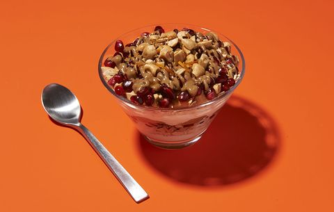 Almond Butter Yogurt Parfait With Pomegranate, Ginger And Cashew breakfast bowl