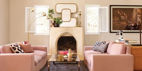 Living room, Room, Furniture, Interior design, Property, Fireplace, Hearth, Wall, Couch, Pink,