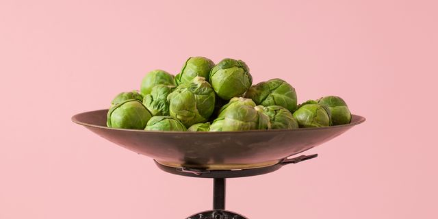 food scale with brussels sprouts