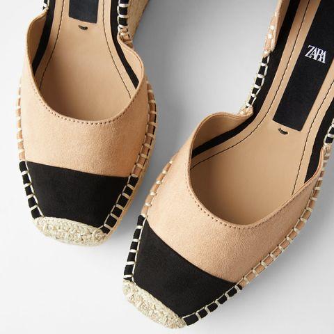 Footwear, Shoe, Slingback, Beige, Espadrille, High heels,
