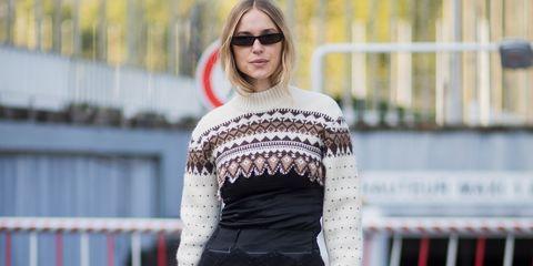 Pernille Teisbaek wearing an alpine knit