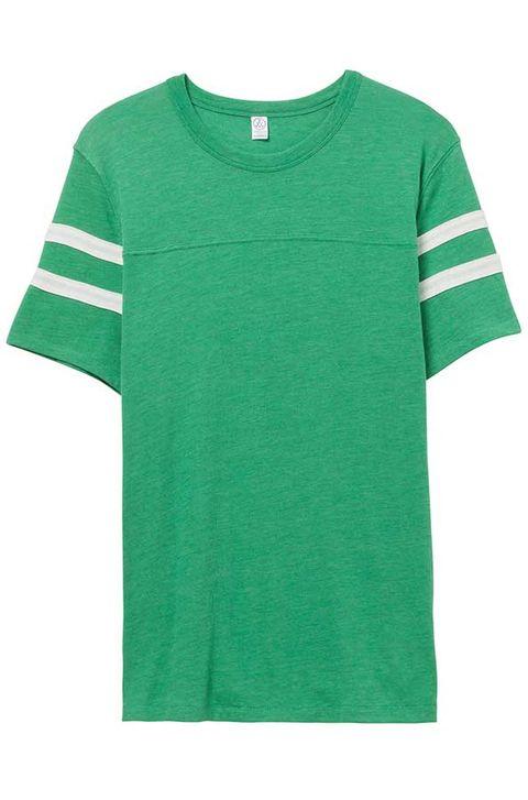 Clothing, Green, T-shirt, Sleeve, Active shirt, Pocket, Jersey, Top, Outerwear, Sportswear,