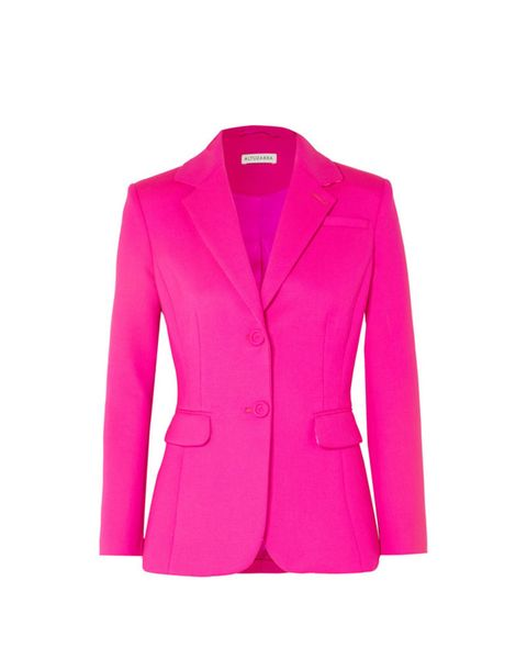 Clothing, Outerwear, Blazer, Jacket, Pink, Sleeve, Magenta, Button, Top, Pocket,