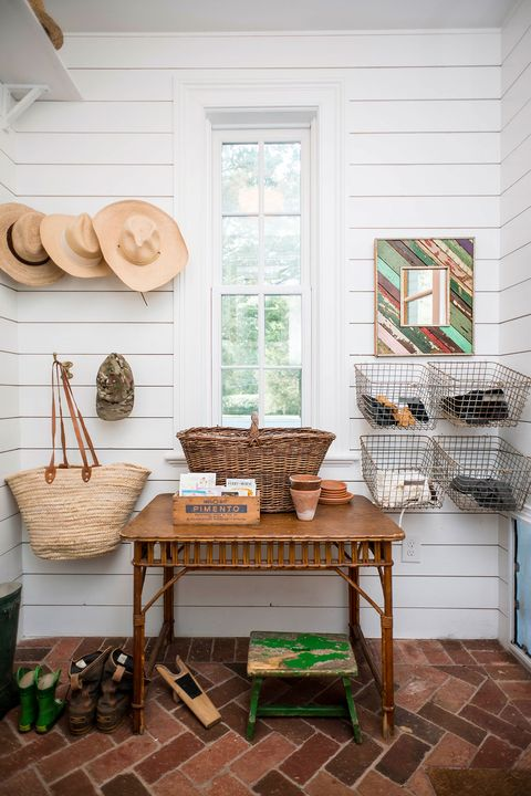 rustic mudroom with baskets