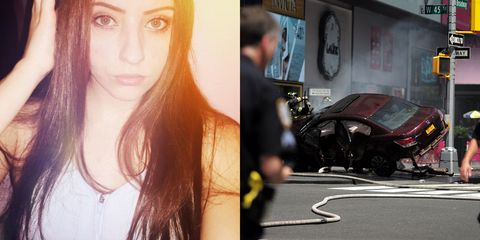 An 18-year-old girl was killed yesterday in the Times Square car crash